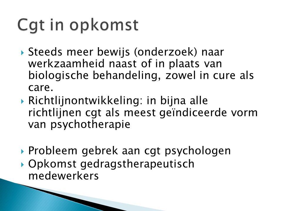  Steeds meer bewijs (onderzoek) naar werkzaamheid naast of in plaats van biologische behandeling, zowel in cure als care.  Richtlijnontwikkeling: in