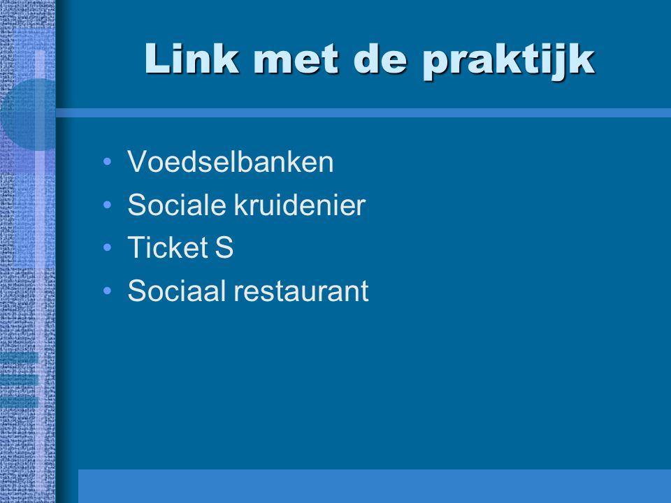 Link met de praktijk Voedselbanken Sociale kruidenier Ticket S Sociaal restaurant