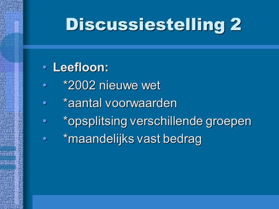 Discussiestelling 2 Leefloon:Leefloon: *2002 nieuwe wet *2002 nieuwe wet *aantal voorwaarden *aantal voorwaarden *opsplitsing verschillende groepen *o