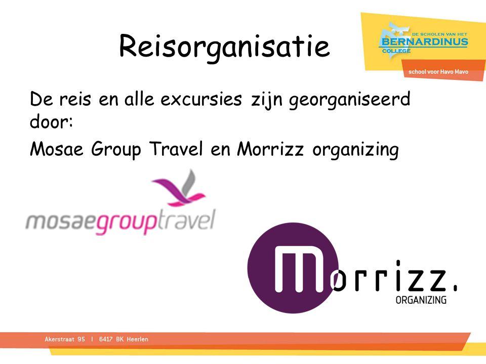 Reisorganisatie De reis en alle excursies zijn georganiseerd door: Mosae Group Travel en Morrizz organizing