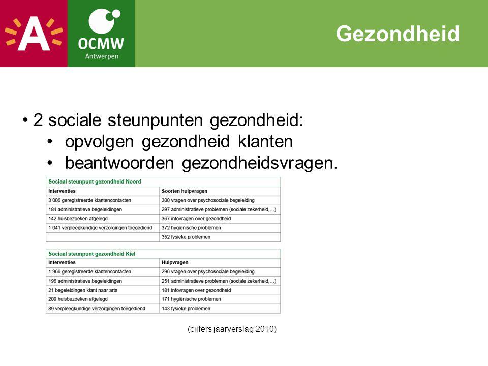 2 sociale steunpunten gezondheid: opvolgen gezondheid klanten beantwoorden gezondheidsvragen. Gezondheid (cijfers jaarverslag 2010)