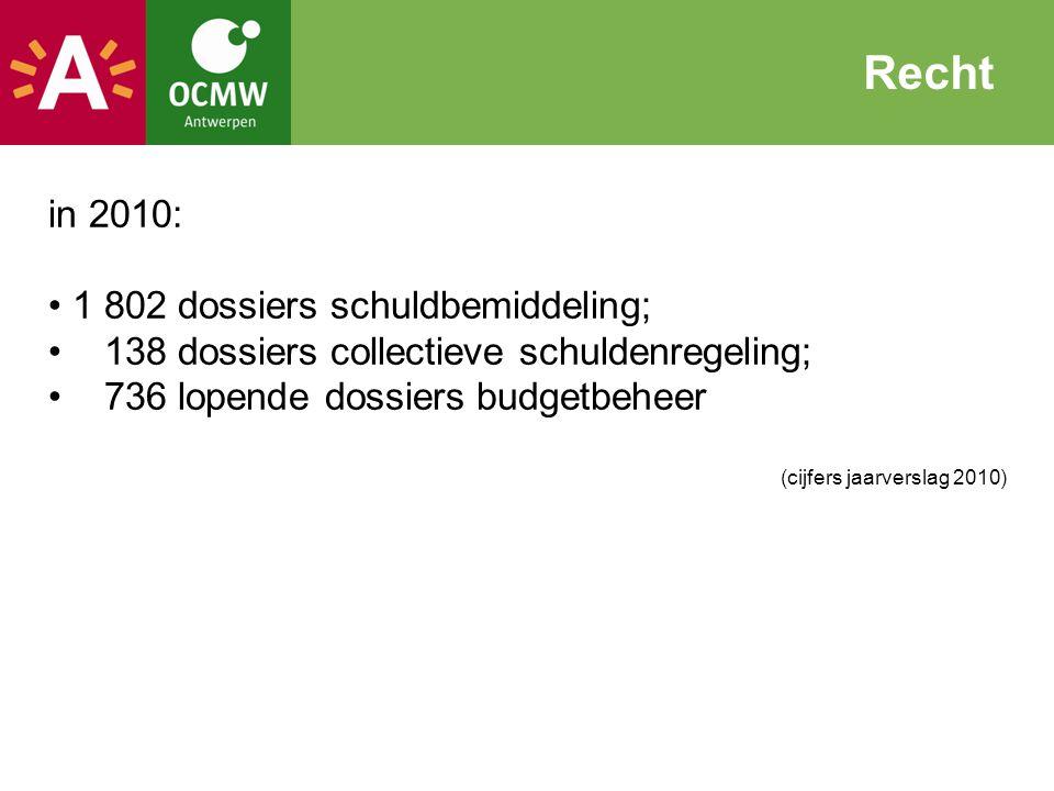 in 2010: 1 802 dossiers schuldbemiddeling; 138 dossiers collectieve schuldenregeling; 736 lopende dossiers budgetbeheer (cijfers jaarverslag 2010) Rec