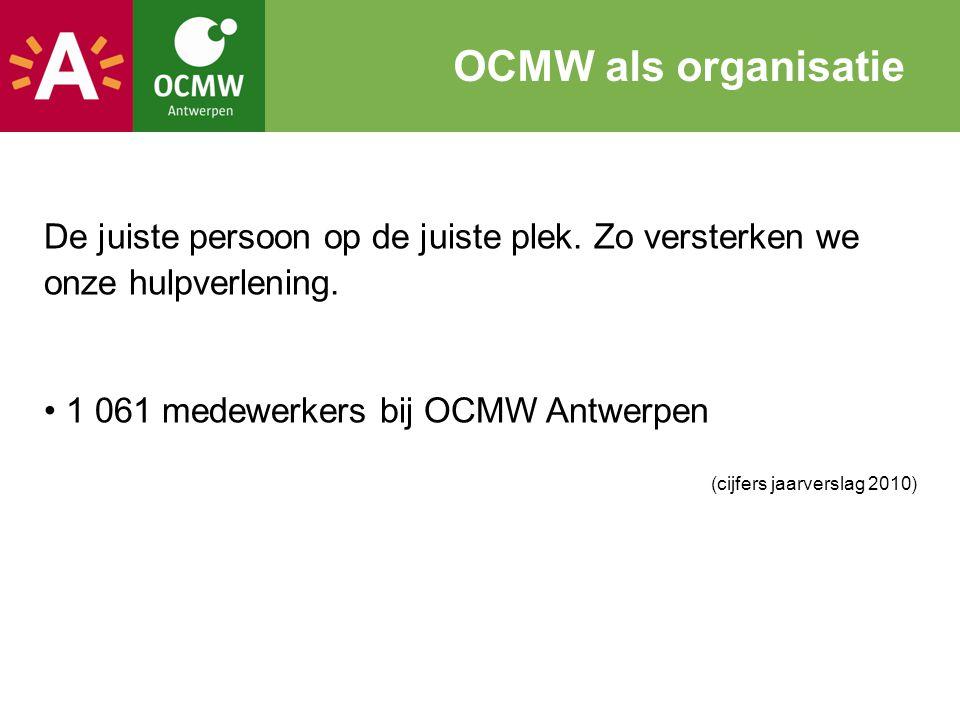 De juiste persoon op de juiste plek. Zo versterken we onze hulpverlening. 1 061 medewerkers bij OCMW Antwerpen (cijfers jaarverslag 2010) OCMW als org