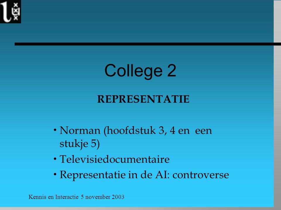 Kennis en Interactie 5 november 2003 College 2 REPRESENTATIE  Norman (hoofdstuk 3, 4 en een stukje 5)  Televisiedocumentaire  Representatie in de AI: controverse