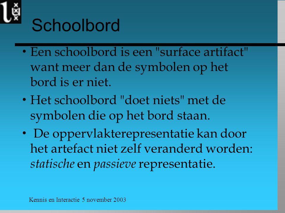 Kennis en Interactie 5 november 2003 Schoolbord  Een schoolbord is een