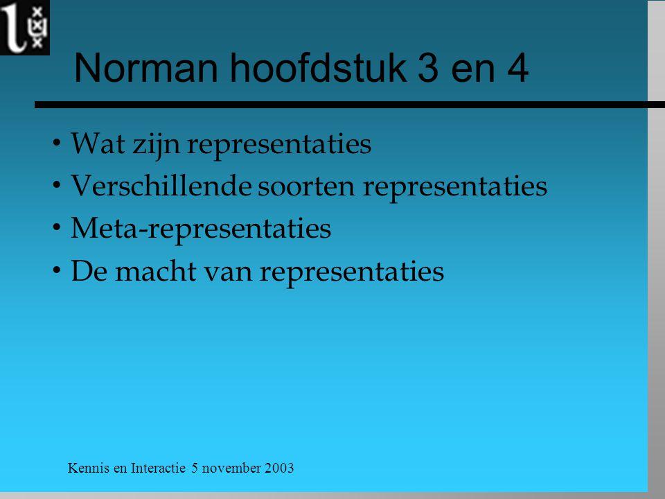 Kennis en Interactie 5 november 2003 Norman hoofdstuk 3 en 4  Wat zijn representaties  Verschillende soorten representaties  Meta-representaties  De macht van representaties