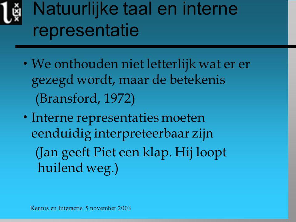 Kennis en Interactie 5 november 2003 Natuurlijke taal en interne representatie  We onthouden niet letterlijk wat er er gezegd wordt, maar de betekenis (Bransford, 1972)  Interne representaties moeten eenduidig interpreteerbaar zijn (Jan geeft Piet een klap.