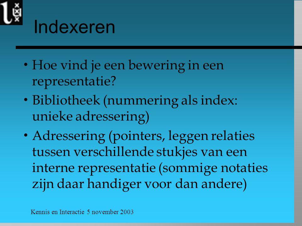 Kennis en Interactie 5 november 2003 Indexeren  Hoe vind je een bewering in een representatie?  Bibliotheek (nummering als index: unieke adressering