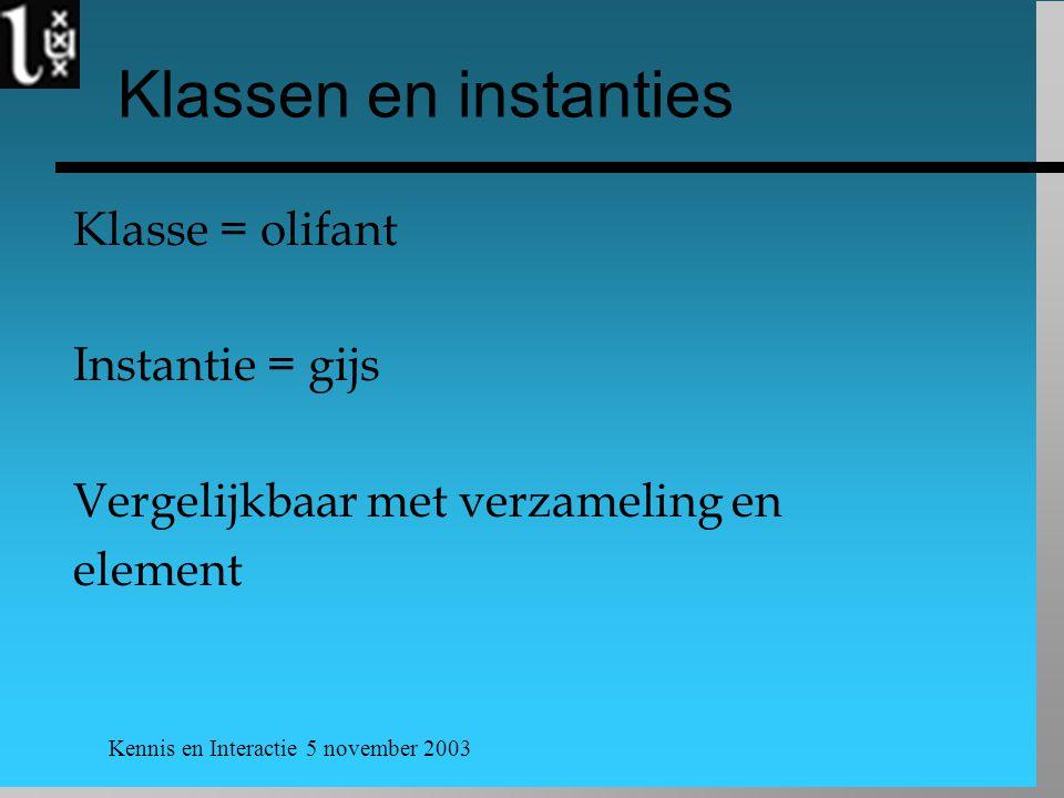 Kennis en Interactie 5 november 2003 Klassen en instanties Klasse = olifant Instantie = gijs Vergelijkbaar met verzameling en element