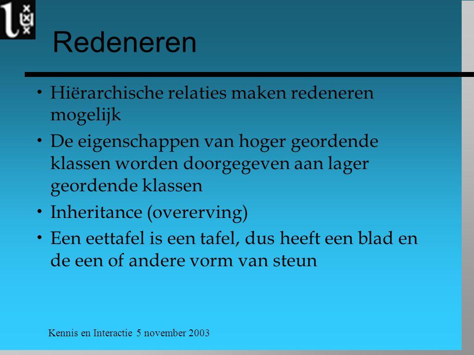 Kennis en Interactie 5 november 2003 Redeneren  Hiërarchische relaties maken redeneren mogelijk  De eigenschappen van hoger geordende klassen worden