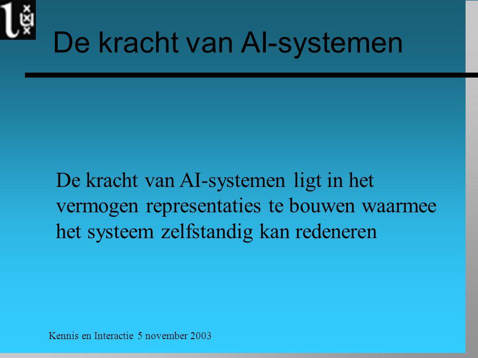 Kennis en Interactie 5 november 2003 De kracht van AI-systemen De kracht van AI-systemen ligt in het vermogen representaties te bouwen waarmee het systeem zelfstandig kan redeneren