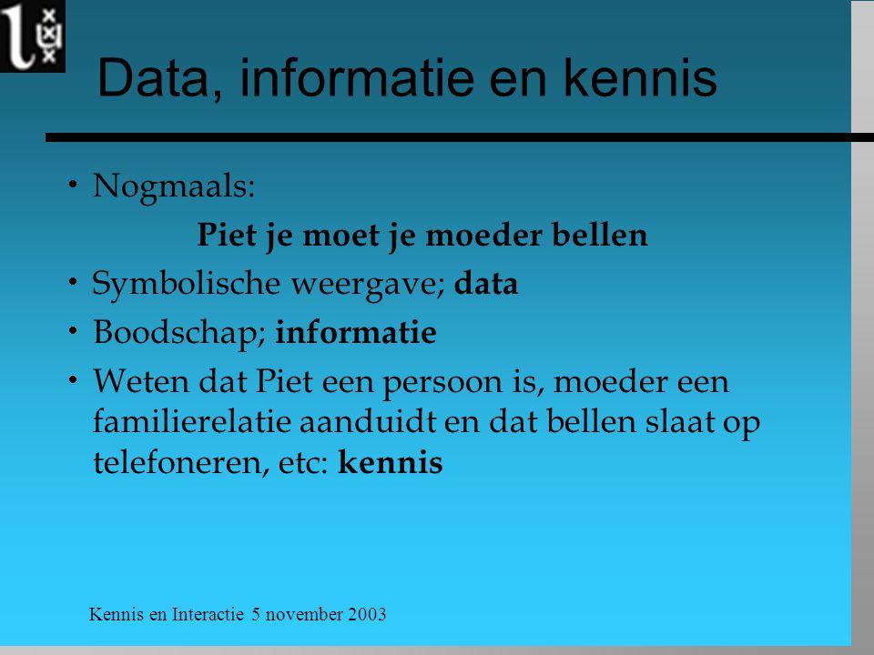 Kennis en Interactie 5 november 2003 Data, informatie en kennis  Nogmaals: Piet je moet je moeder bellen  Symbolische weergave; data  Boodschap; in