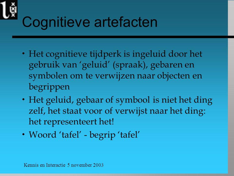 Kennis en Interactie 5 november 2003 Cognitieve artefacten  Het cognitieve tijdperk is ingeluid door het gebruik van 'geluid' (spraak), gebaren en sy