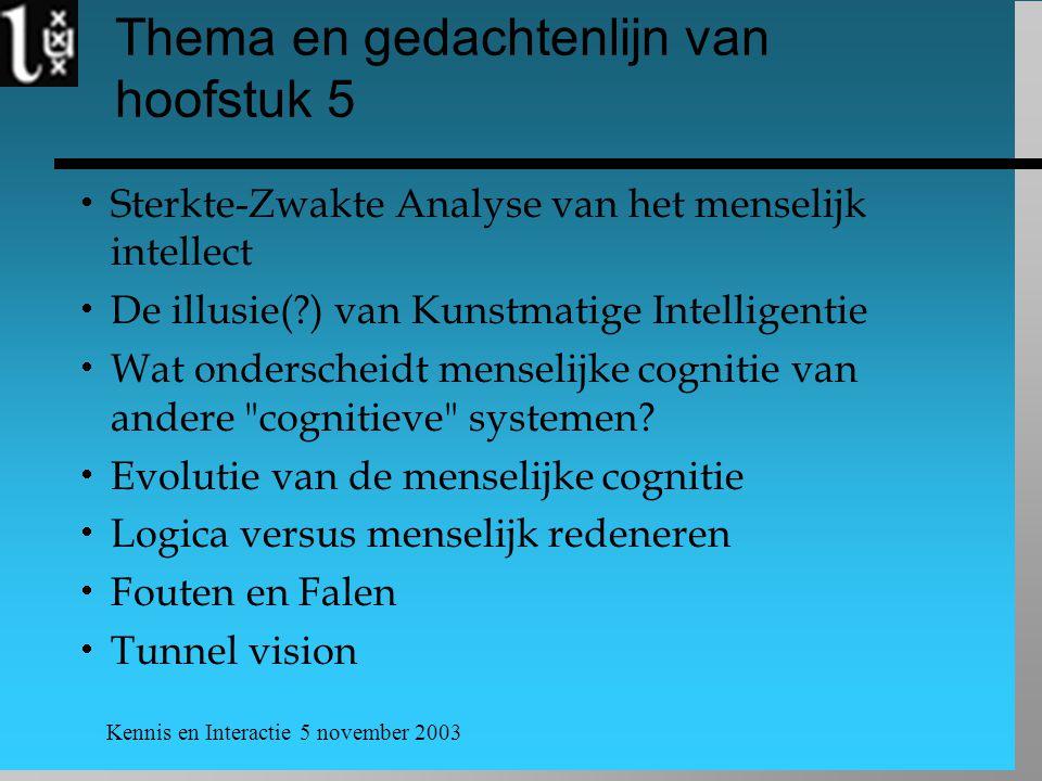Kennis en Interactie 5 november 2003 Thema en gedachtenlijn van hoofstuk 5  Sterkte-Zwakte Analyse van het menselijk intellect  De illusie(?) van Kunstmatige Intelligentie  Wat onderscheidt menselijke cognitie van andere cognitieve systemen.