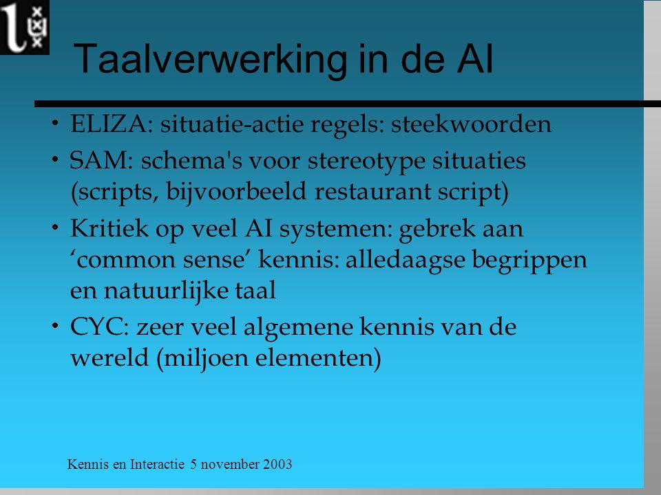 Kennis en Interactie 5 november 2003 Taalverwerking in de AI  ELIZA: situatie-actie regels: steekwoorden  SAM: schema's voor stereotype situaties (s