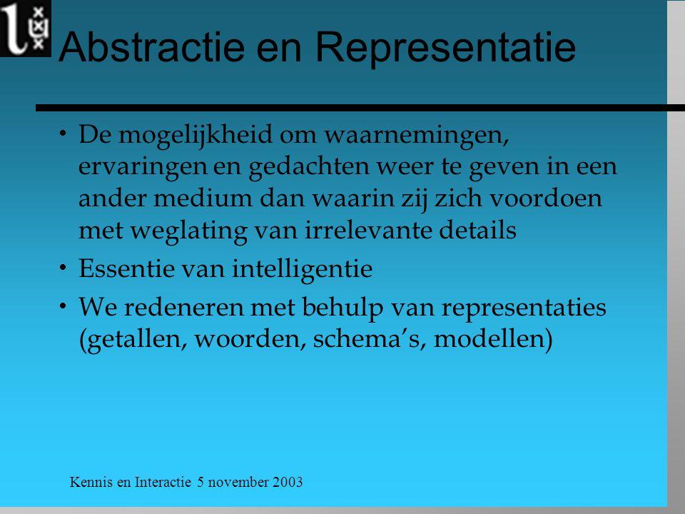 Kennis en Interactie 5 november 2003 Abstractie en Representatie  De mogelijkheid om waarnemingen, ervaringen en gedachten weer te geven in een ander
