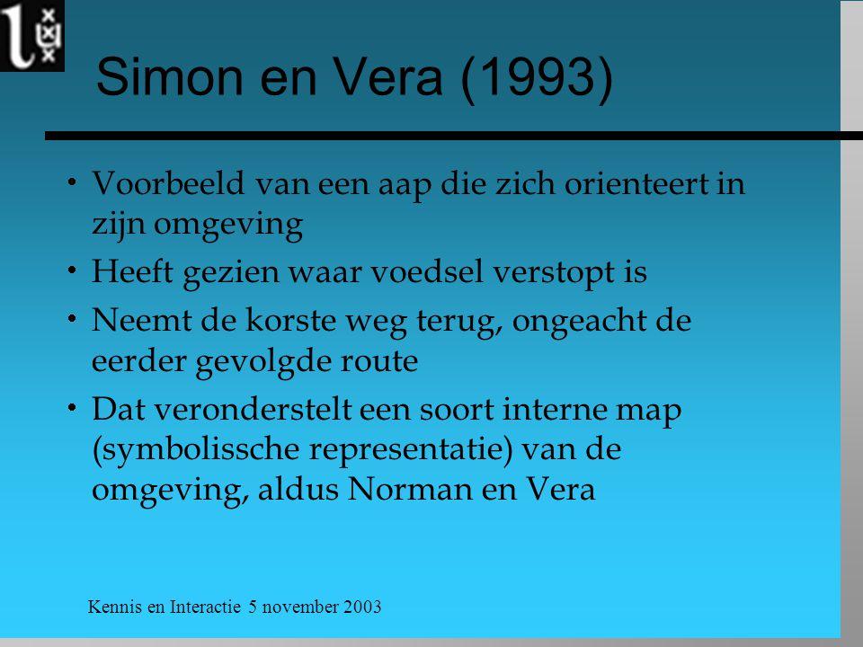 Kennis en Interactie 5 november 2003 Simon en Vera (1993)  Voorbeeld van een aap die zich orienteert in zijn omgeving  Heeft gezien waar voedsel verstopt is  Neemt de korste weg terug, ongeacht de eerder gevolgde route  Dat veronderstelt een soort interne map (symbolissche representatie) van de omgeving, aldus Norman en Vera