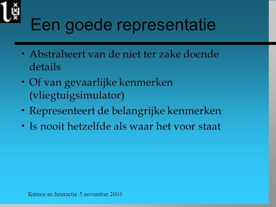 Kennis en Interactie 5 november 2003 Een goede representatie  Abstraheert van de niet ter zake doende details  Of van gevaarlijke kenmerken (vliegtu