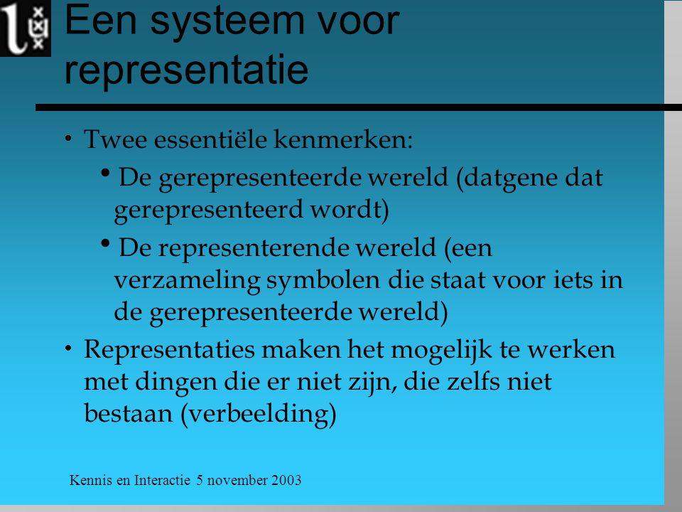 Kennis en Interactie 5 november 2003 Een systeem voor representatie  Twee essentiële kenmerken:  De gerepresenteerde wereld (datgene dat gerepresent