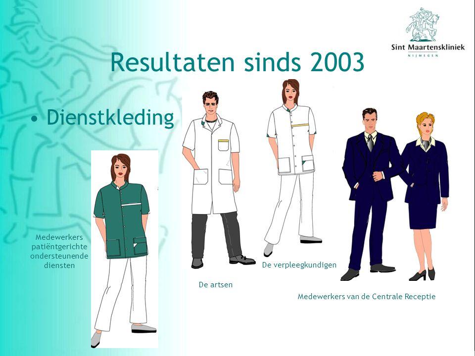 Dienstkleding De verpleegkundigen De artsen Medewerkers van de Centrale Receptie Medewerkers patiëntgerichte ondersteunende diensten Resultaten sinds 2003