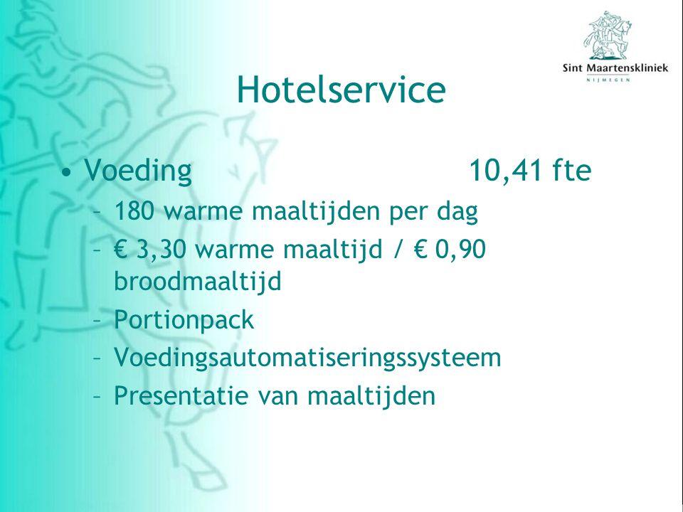 Hotelservice Voeding10,41 fte –180 warme maaltijden per dag –€ 3,30 warme maaltijd / € 0,90 broodmaaltijd –Portionpack –Voedingsautomatiseringssysteem –Presentatie van maaltijden