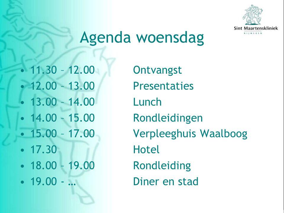 Agenda woensdag 11.30 – 12.00Ontvangst 12.00 – 13.00 Presentaties 13.00 – 14.00 Lunch 14.00 – 15.00 Rondleidingen 15.00 – 17.00Verpleeghuis Waalboog 17.30Hotel 18.00 – 19.00 Rondleiding 19.00 - …Diner en stad