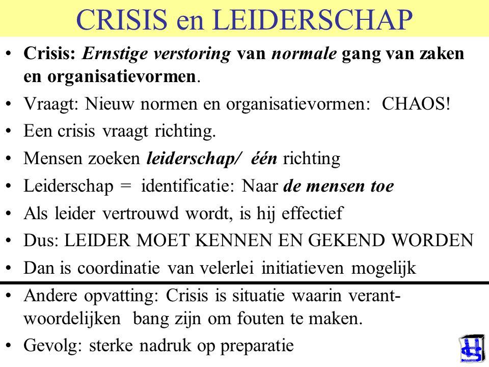 CRISIS en LEIDERSCHAP Crisis: Ernstige verstoring van normale gang van zaken en organisatievormen. Vraagt: Nieuw normen en organisatievormen: CHAOS! E