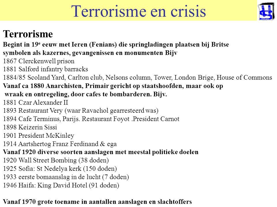 Terrorisme en crisis Terrorisme komt per definitie onverwacht Oud middel met vele vormen: brandstichting, moord, plundering, verkrachting, vernietigin