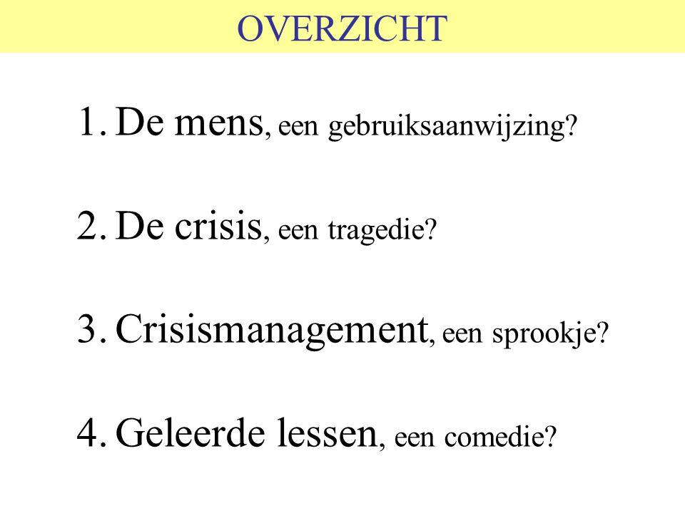 OVERZICHT 1.De mens, een gebruiksaanwijzing? 2.De crisis, een tragedie? 3.Crisismanagement, een sprookje? 4.Geleerde lessen, een comedie?