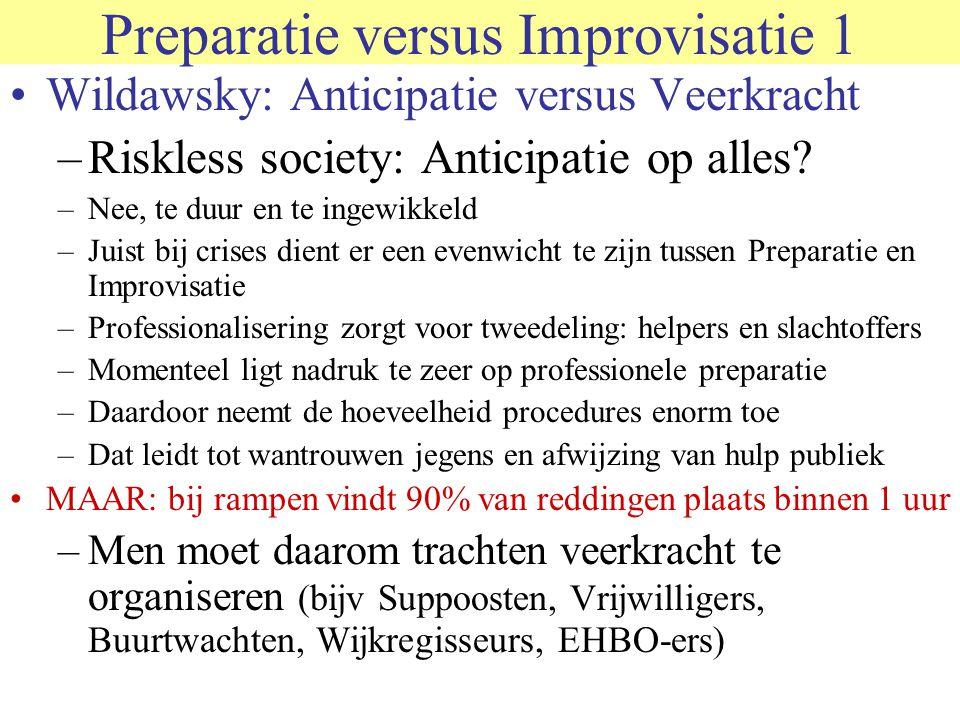 Preparatie versus Improvisatie 1 Wildawsky: Anticipatie versus Veerkracht –Riskless society: Anticipatie op alles? –Nee, te duur en te ingewikkeld –Ju