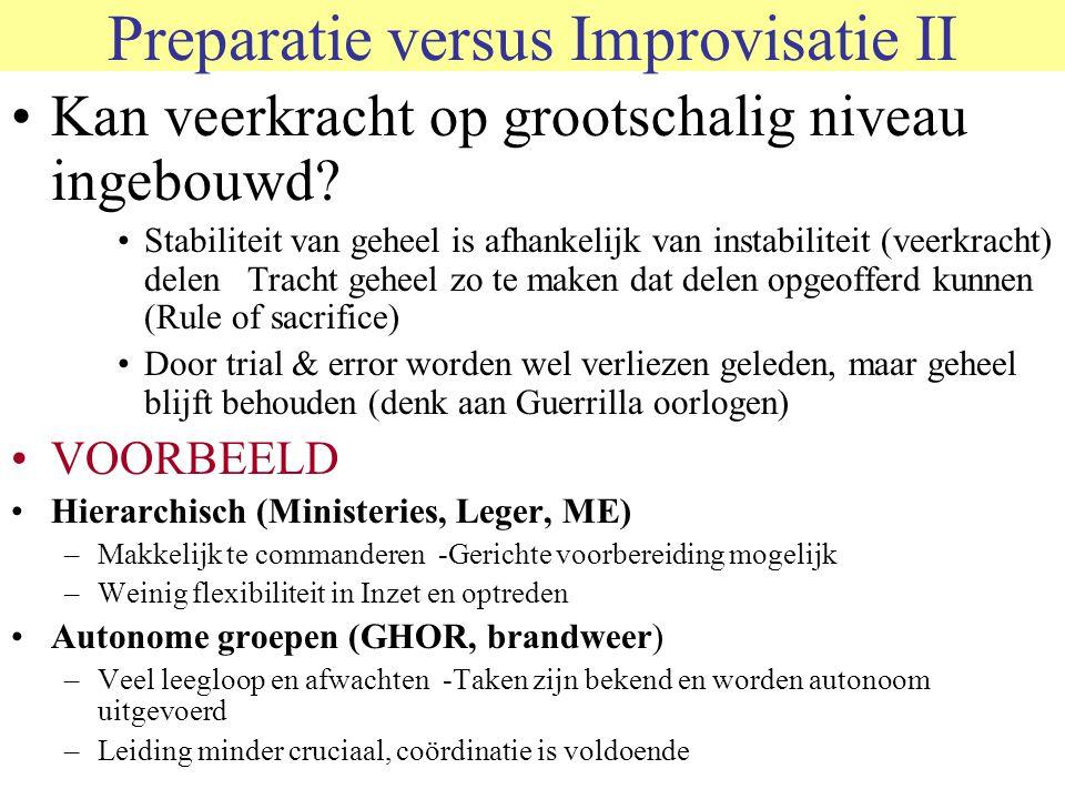 Preparatie versus Improvisatie II Kan veerkracht op grootschalig niveau ingebouwd? Stabiliteit van geheel is afhankelijk van instabiliteit (veerkracht