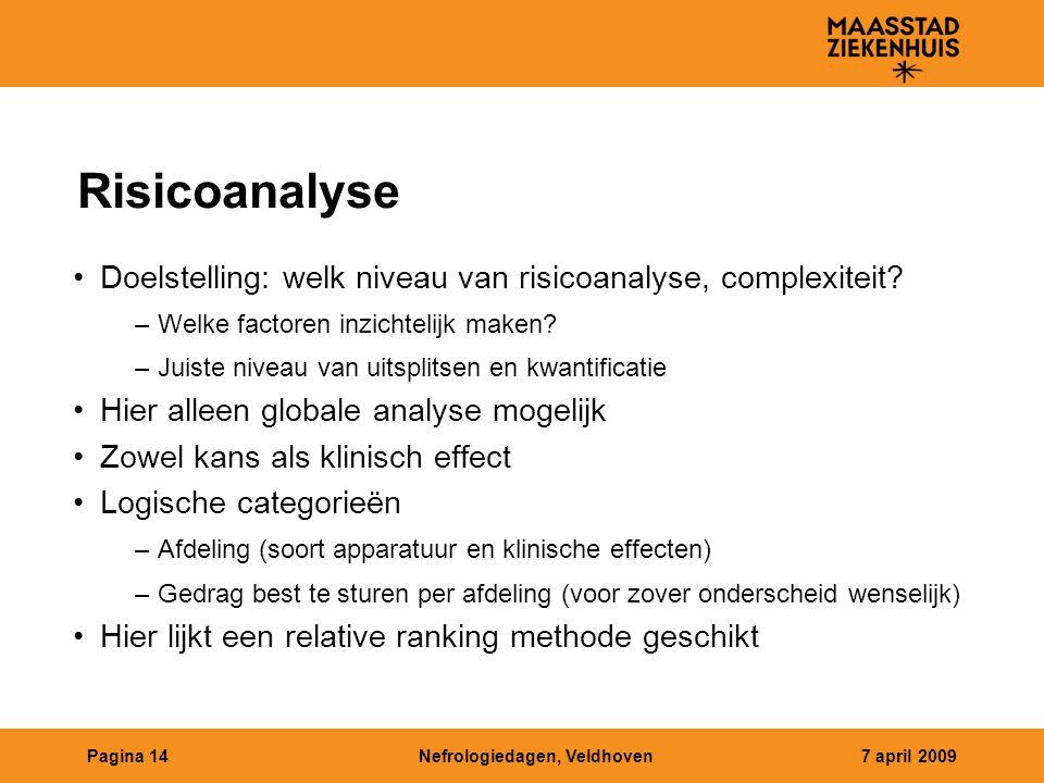 Nefrologiedagen, Veldhoven7 april 2009Pagina 14 Risicoanalyse Doelstelling: welk niveau van risicoanalyse, complexiteit? –Welke factoren inzichtelijk