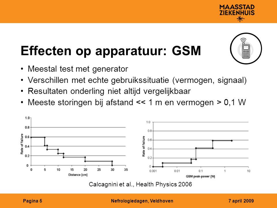 Nefrologiedagen, Veldhoven7 april 2009Pagina 5 Effecten op apparatuur: GSM Meestal test met generator Verschillen met echte gebruikssituatie (vermogen, signaal) Resultaten onderling niet altijd vergelijkbaar Meeste storingen bij afstand 0,1 W Calcagnini et al., Health Physics 2006