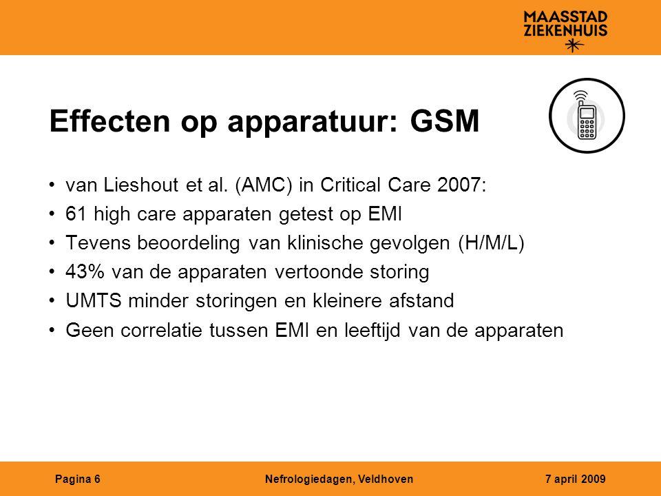 Nefrologiedagen, Veldhoven7 april 2009Pagina 6 Effecten op apparatuur: GSM van Lieshout et al. (AMC) in Critical Care 2007: 61 high care apparaten get