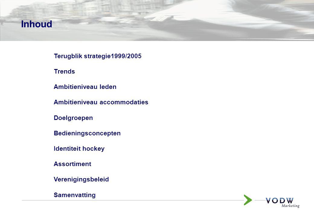 Inhoud Terugblik strategie1999/2005 Trends Ambitieniveau leden Ambitieniveau accommodaties Doelgroepen Bedieningsconcepten Identiteit hockey Assortiment Verenigingsbeleid Samenvatting
