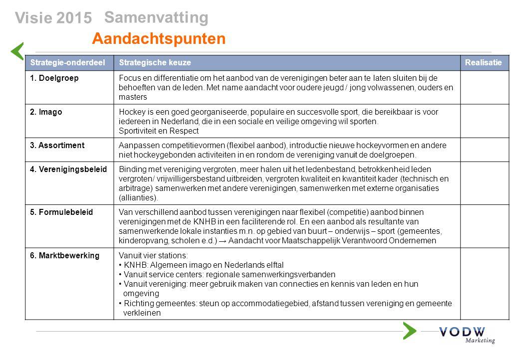 Samenvatting Aandachtspunten Strategie-onderdeelStrategische keuzeRealisatie 1. DoelgroepFocus en differentiatie om het aanbod van de verenigingen bet