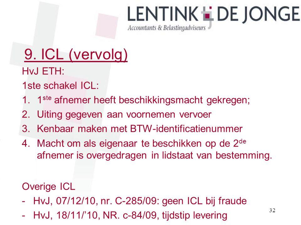 9. ICL (vervolg) HvJ ETH: 1ste schakel ICL: 1.1 ste afnemer heeft beschikkingsmacht gekregen; 2.Uiting gegeven aan voornemen vervoer 3.Kenbaar maken m