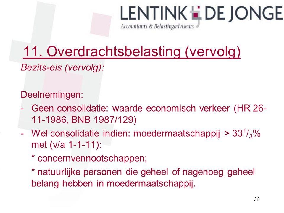 11. Overdrachtsbelasting (vervolg) Bezits-eis (vervolg): Deelnemingen: -Geen consolidatie: waarde economisch verkeer (HR 26- 11-1986, BNB 1987/129) -W