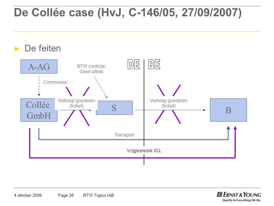 4 oktober 2008BTW Topics IABPage 26 De Collée case (HvJ, C-146/05, 27/09/2007) ► De feiten Collée GmbH S B A-AG Commissie Transport BTW controle: Geen