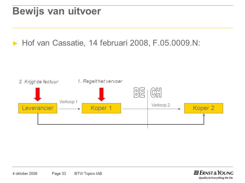 4 oktober 2008BTW Topics IABPage 33 Bewijs van uitvoer ► Hof van Cassatie, 14 februari 2008, F.05.0009.N: LeverancierKoper 1Koper 2 Verkoop 1 Verkoop