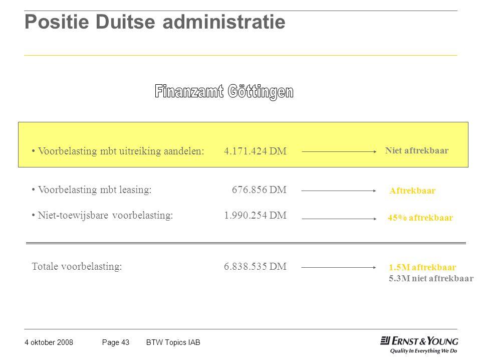 4 oktober 2008BTW Topics IABPage 43 Positie Duitse administratie Voorbelasting mbt uitreiking aandelen:4.171.424 DM Voorbelasting mbt leasing: 676.856