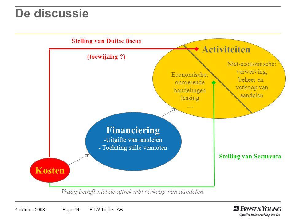 4 oktober 2008BTW Topics IABPage 44 De discussie Kosten Financiering -Uitgifte van aandelen - Toelating stille vennoten Activiteiten Economische: onro