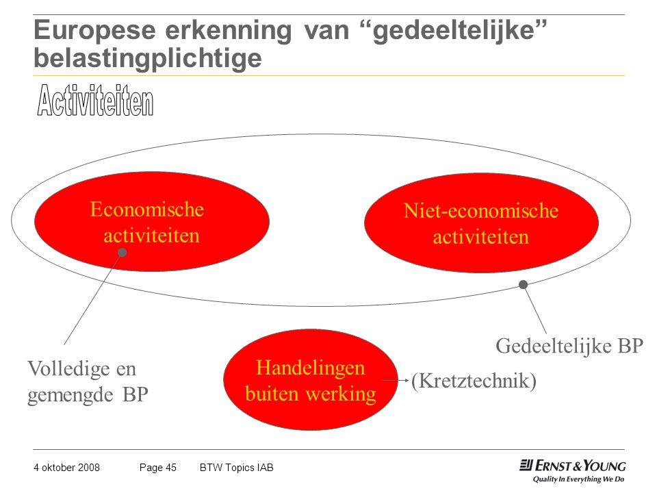 """4 oktober 2008BTW Topics IABPage 45 Europese erkenning van """"gedeeltelijke"""" belastingplichtige Handelingen buiten werking Economische activiteiten Niet"""