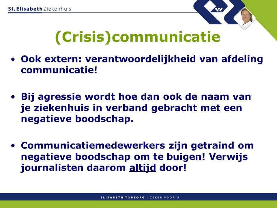 (Crisis)communicatie Ook extern: verantwoordelijkheid van afdeling communicatie! Bij agressie wordt hoe dan ook de naam van je ziekenhuis in verband g