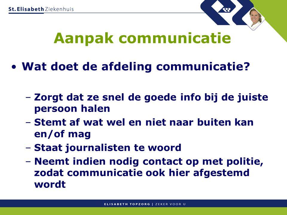 Aanpak communicatie Wat doet de afdeling communicatie? –Zorgt dat ze snel de goede info bij de juiste persoon halen –Stemt af wat wel en niet naar bui