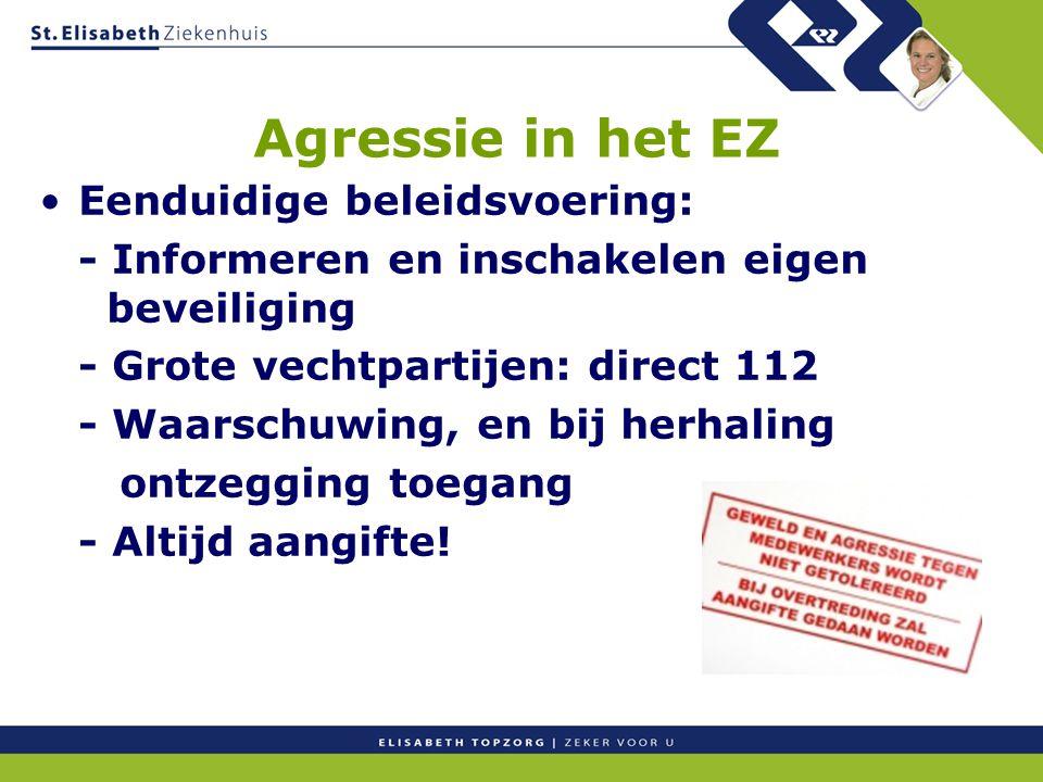 Agressie in het EZ Eenduidige beleidsvoering: - Informeren en inschakelen eigen beveiliging - Grote vechtpartijen: direct 112 - Waarschuwing, en bij h