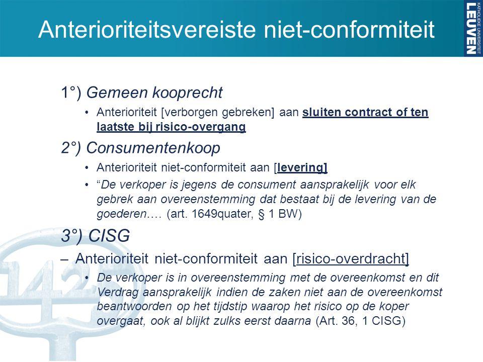 Anterioriteitsvereiste niet-conformiteit 1°) Gemeen kooprecht Anterioriteit [verborgen gebreken] aan sluiten contract of ten laatste bij risico-overga