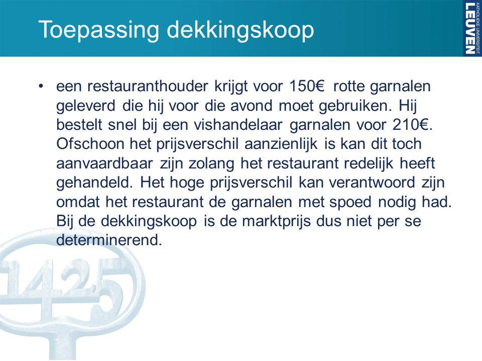 Toepassing dekkingskoop een restauranthouder krijgt voor 150€ rotte garnalen geleverd die hij voor die avond moet gebruiken. Hij bestelt snel bij een