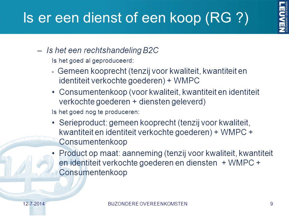Is er een dienst of een koop (RG ?) –Is het een rechtshandeling B2C Is het goed al geproduceerd: - Gemeen kooprecht (tenzij voor kwaliteit, kwantiteit