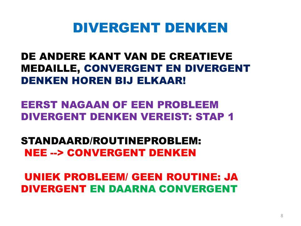 DIVERGENT DENKEN 8 DE ANDERE KANT VAN DE CREATIEVE MEDAILLE, CONVERGENT EN DIVERGENT DENKEN HOREN BIJ ELKAAR! EERST NAGAAN OF EEN PROBLEEM DIVERGENT D